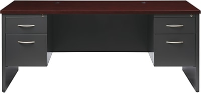 Double Ped Desk 36D x 72W Charcoal and Mahogany