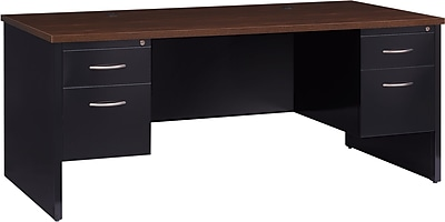 Double Ped Desk 36D x 72W Black and Walnut