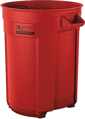 Suncast Commercial Utility Trash Can, 55 Gallon, Red (BMTCU55R)