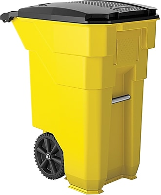 Suncast Commercial Wheeled Trash Can, 50 Gallon, Yellow (BMTCW50Y)
