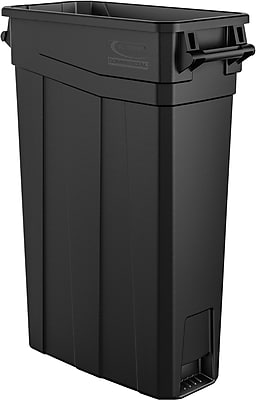 Suncast Commercial Slim Trash Can w/ Handles, 23 Gallon, Black (TCNH2030BK)