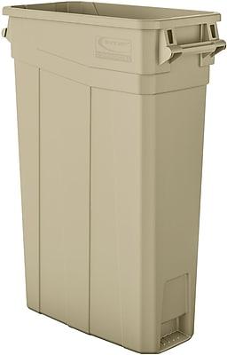 Suncast Commercial Slim Trash Can w/ Handles, 23 Gallon, Sand (TCNH2030S)