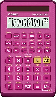 Casio FX260SLRS Pink Solar Scientific Calculator, 144 built-in functions
