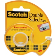 "Scotch® Double Sided Tape, 1/2"" x 450"" with Dispenser, 1"" Core, 72/Ct"