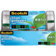 "Scotch® Magic ™ Greener Tape, 3/4"" x 16 3/4 yds, with Dispenser, 1"" Core, 6/Pack"