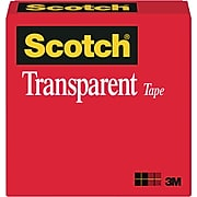 """Scotch® Transparent Tape, Crystal Clear Clarity Finish, Glossy, 1/2"""" x 36 yds., 1"""" Core, 2 Rolls (600H2)"""