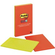"Post-it® Super Sticky Large-Format Notes, 5"" x 8"", Marrakesh Collection, Lined, 4 Pads/Pack (5845SSAN)"