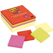 "Post-it® Super Sticky Notes, 3"" x 3"", Marrakesh Collection, 24 Pads/Pack (65424SSCYN)"