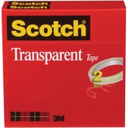 "Scotch® Transparent Tape 600, 1/2"" x 72 yds, 3"" Core, 2/Pack"