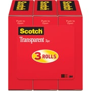 "Scotch® Transparent Tape 600, 3/4""x 27 yds, 1"" Core, 3/Pack"