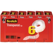 "Scotch® Transparent Tape, 3/4"" x 1296"", 1"" Core, 6/Pack"