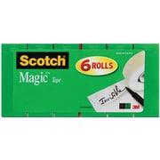 """Scotch® Magic Tape, Invisible, Write On, Matte Finish, 3/4"""" x 36 yds., 1"""" Core, 6 Rolls (810-6PK)"""