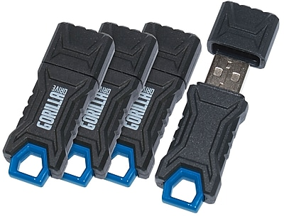 GorillaDrive 16GB Rugged USB Flash Drive, 4/Pack