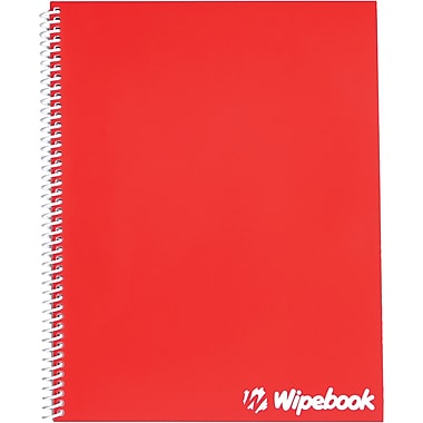 Wipebook, 1 Subject Dry-Erase Notebook, Plain Ruling, Red (817596000617)