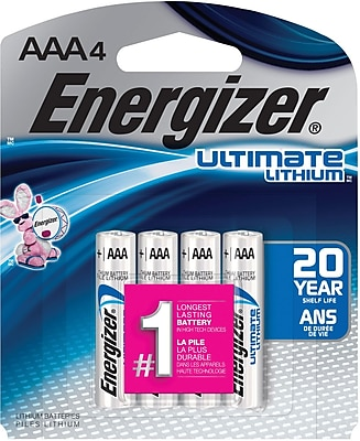 Energizer® Ultimate Lithium Batteries, AAA, 4/Pack
