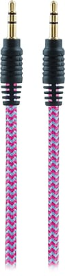 Staples 6' Braided 3.5mm Auxiliary Audio Cable, Pink/Teal