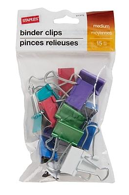 Staples® 15/Pack Assorted Fashion Binder Clips - Medium