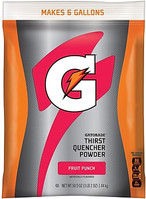 Gatorade® 6 Gallon Yield Instant Powder Dry Mix Energy Drink, 51 oz. Pack, Fruit Punch, 14/Ct
