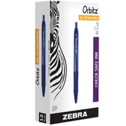 Zebra® Orbitz Retractable Gel-Ink Pen, Medium Point, Blue, Dozen