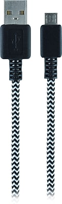 Staples 6' Braided Micro USB Charge/Sync Cable, Black/Silver