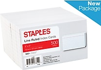 Staples® 3' x 5' Line Ruled Index Cards, 500/Pack (51009)