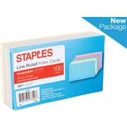 """Staples® 3"""" x 5""""  Heavyweight Line Ruled Assorted Pastel  Index Cards, 100/Pack (51004)"""