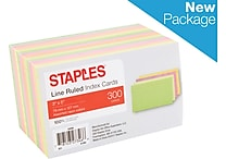 Staples® 3' x 5' Line Ruled Assorted Neon Index Cards, 300/Pack (50998)