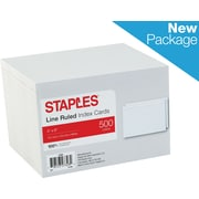 "Staples® 4"" x 6""  Line Ruled White Index Cards, 500/Pack (50989)"