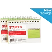 """Staples® 3"""" x 5""""  Line Ruled Assorted Neon Spiral-Bound Index Cards 2/Pack (50994)"""
