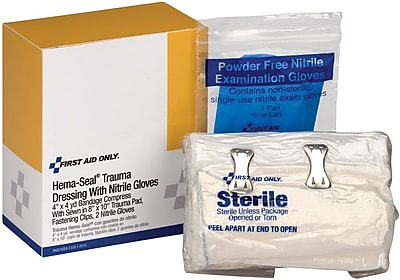 First Aid Only® SmartCompliance™ Hema-Seal Trauma Dressing with Nitrile Exam Gloves (2-014)