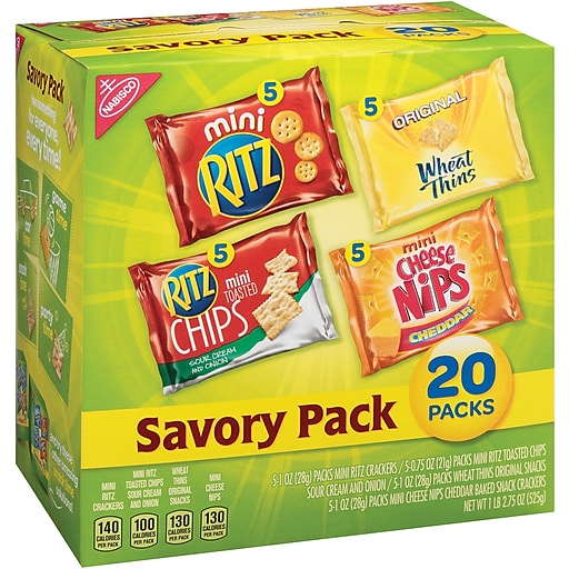 Nabisco Savory Mix Variety Snack Pack, Pack of 20 (MOZ04585)