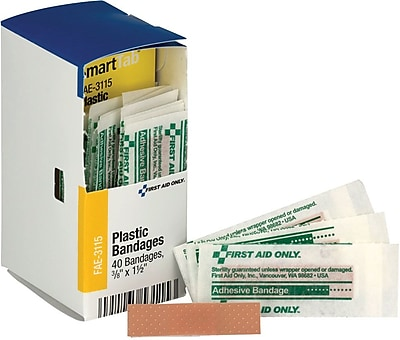 First Aid Only® SmartCompliance™ Refill 3/8 X1.5 Junior Bandages 40 per Box (FAE-3115)