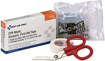 First Aid Only® Tape, CPR Mask, and Scissors, 1 Each/Box (90638)