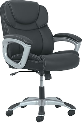 Sadie Mid-Back Executive Chair, Padded Arms, Black Leather, Silver Accents NEXT2018 NEXT2Day