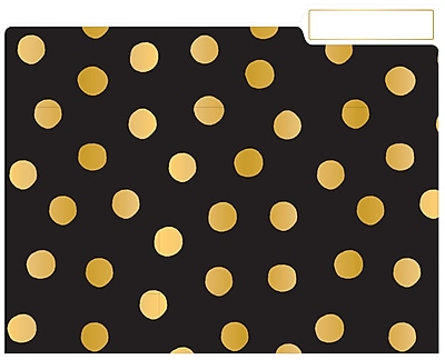 Eccolo Polka Dot Top Tab File Folders, Letter Size, 3 Tab, 9/Pack (ST617D)