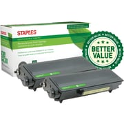 Staples® Remanufactured Laser Toner Cartridge, Brother TN580 (TN580), Black, High Yield, 2-Pack