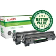 Staples® Remanufactured Toner Cartridge, Canon 128 (3500B001AA), Black, 2-Pack