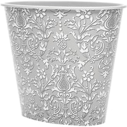 3 Gal Oval Wastebasket, Grey Damask