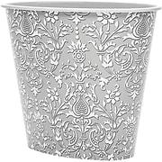 3 Gal Oval Wastebasket, Grey Damask