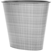 3 Gal Oval Wastebasket, Silver Fusion
