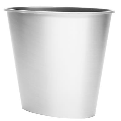 3 Gal Oval Wastebasket, Brushed Silver