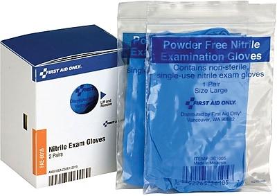 First Aid Only™ Exam Gloves, Vinyl, Powder Free, 2 Pair/Box (FAE-6018)