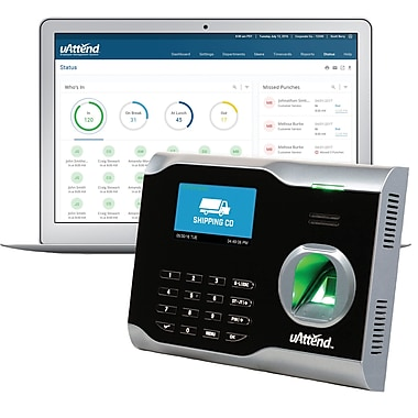 uAttend Unlimited Plug 'n' Play Ethernet Connection Fingerprint Wi-Fi Time Clock, Black (BN6500SC)