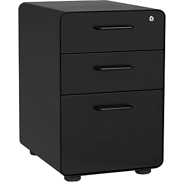Stow 3-Drawer File Cabinet, Black
