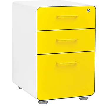 Poppin, Stow File Cabinet, 3-Drawer, White + Yellow (100426)