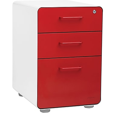 Stow 3-Drawer File Cabinet, White + Red. https://www.staples-3p.com/s7/is/ Poppin, 3-Drawer, Red (100427) | Staples