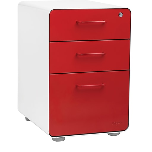 detailed look 89742 3496d Stow 3-Drawer File Cabinet, White + Red