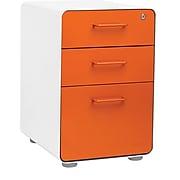 Stow 3-Drawer File Cabinet, White + Orange