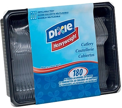 GP PRO Dixie® Polystyrene Heavy Weight Cutlery Keeper (60 Forks/60 Spoons/ 60 Knives), Clear, 180/PK