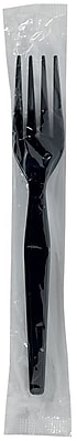 GP PRO Dixie® Polystyrene Heavyweight Individually Wrapped Fork, Black, 1000/CT